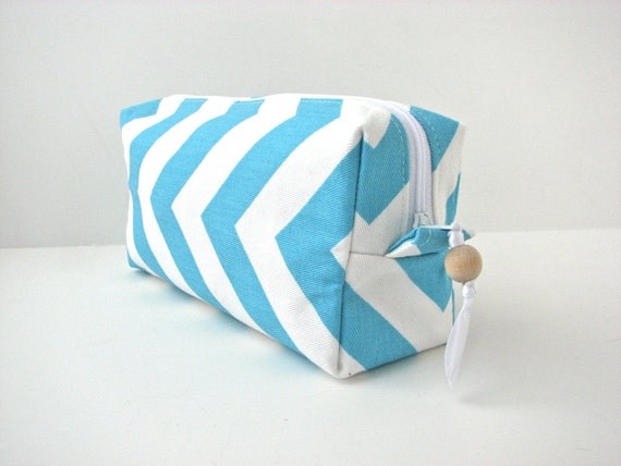 Cosmetic Bag in Turquoise Blue Chevron with water resistant lining - ready to ship