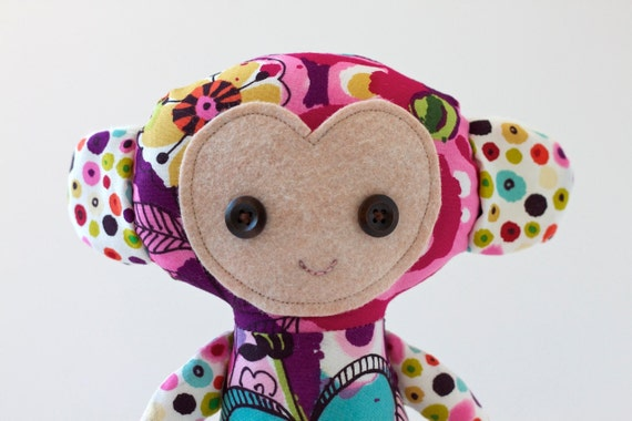 Cloth Doll Monkey in Bloom in Brite - ready to ship
