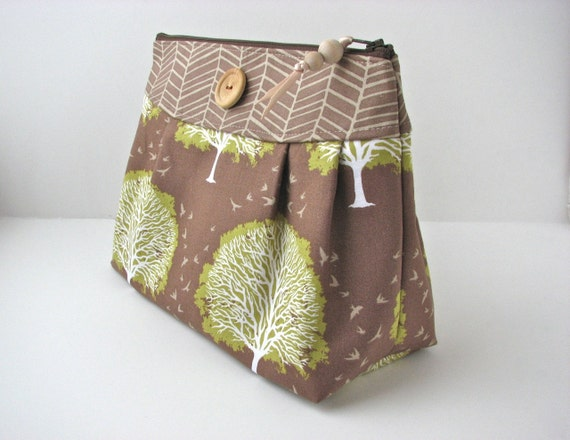 Large Cosmetic Bag in Oak Tree in Timber with water resistant lining - ready to ship