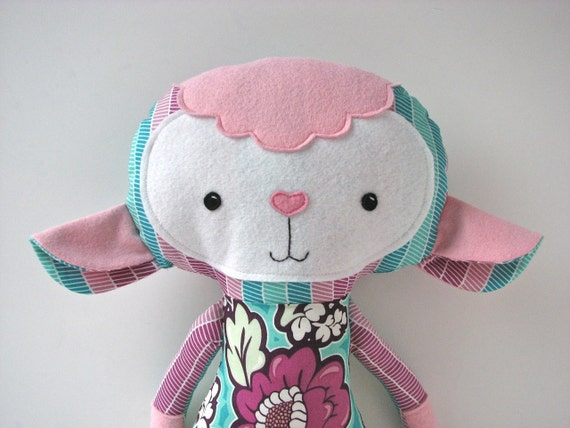 Lamb Cloth Doll In Pink Aqua And Purple Floral Ready To