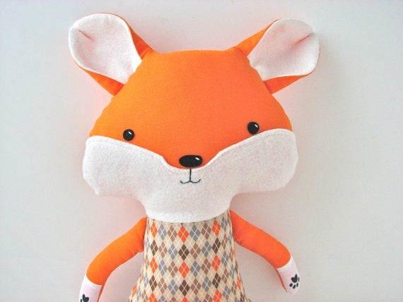 Fox Cloth Doll in Orange and Brown Argyle - ready to ship