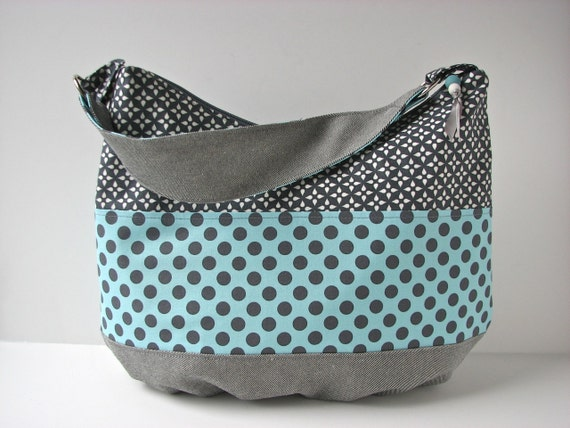 Zippered Hobo Bag Purse in Colorblocked Grey and Aqua Polka Dots with denim - ready to ship