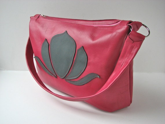 SALE Leather Purse or Shoulder Bag in Hot Pink with grey lotus flower (reg 145)