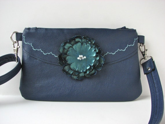 Leather Convertible Bag - Cross Body, Hip Bag, Wallet in one - Royal Blue and Teal