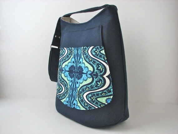 SALE Cross Body Bucket Bag in Navy Blue Canvas and Amy Butler Gypsy in Cobalt  (reg 74)