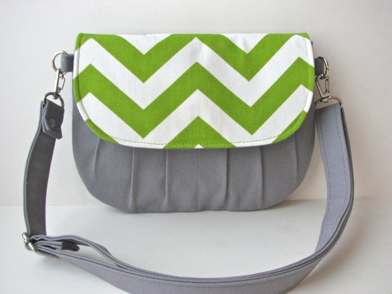 Small Cross body bag or Hip Bag in Green Chevron with Grey Canvas - ready to ship