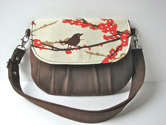 Small Cross body bag or Hip Bag in Sparrows in Bark with Brown Canvas - ready to ship