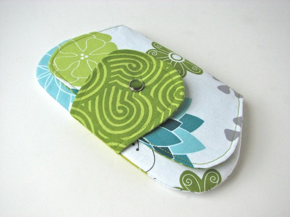 SALE Pocket Clutch Purse, iPhone Wallet in Aromatherapy in Seafoam - ready to ship (reg 20)