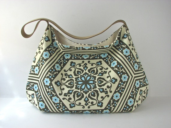Hobo Bag Purse in Amy Butler Star Flower Tiles in Spinach with suede leather strap - ready to ship