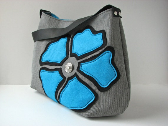 Hobo Bag Purse in Grey Denim with Large Blue Felt Flower and black leather strap - ready to ship
