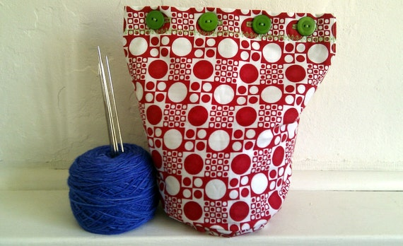 Tic Tac Toe - Sock-Perfect - Buttoned WIP Bucket Bag - Hand-made