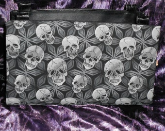 Grey Skulls on a Black and Grey Background Magnetic Purse Cover