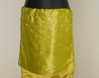 Tribal Fusion Bellydance Lime Green and Gold Mini Panel Skirt Plain