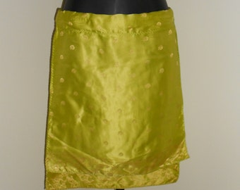 Tribal Fusion Bellydance Lime Green and Gold Mini Panel Skirt