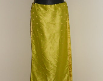 Lime Green and Gold Bellydance Panel Skirt