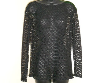 Tribal Fusion Bellydance Black Mesh Shirt Small Medium