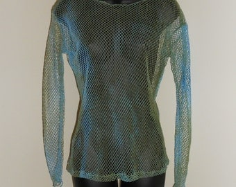 Tribal Fusion Bellydance Pale Blue and Olive Green Mesh Shirt Small