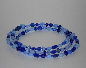 Shades of Blue Beaded Memory Wire Choker Necklace- 018