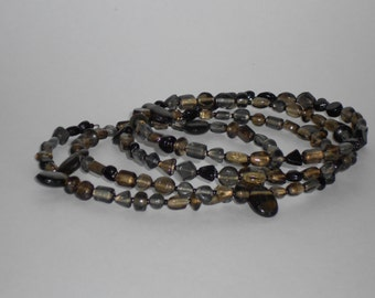 Shades of Black Drop Beaded Memory Wire Choker Necklace- 038