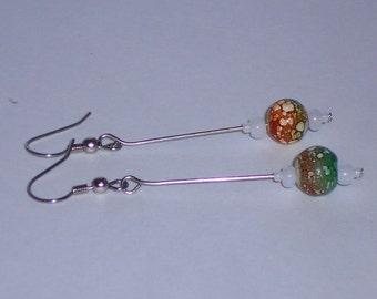 Boho Chic Tan and Green Batik Ball Drop Earrings- 084