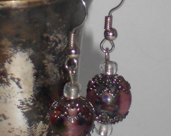 Purple Ball and Antiqued Silver Drop Earrings- 069