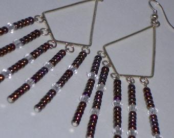Earthtone Metallic and Crystal Chandelier Earrings- 017