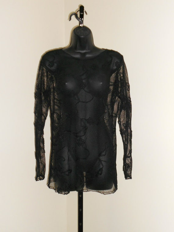 Tribal Fusion Bellydance Black Design on Black Mesh Shirt Large