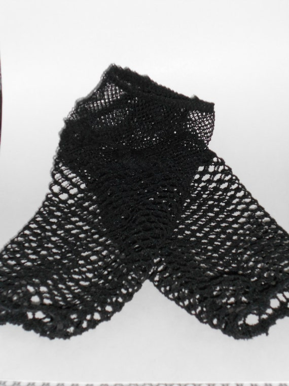 Goth Tribal Fusion Bellydance Black Small and Large Knit Mesh Sleeve Gauntlets