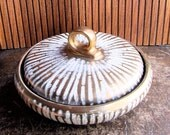 50s West German Ceramic covered Dish Gold and white Glaze