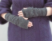 Soft Gray - hand knitted charcoal with string fingerless gloves