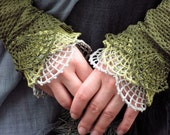 Three Wishes in Tree Colors - crocheted open work lacy wrist warmers cuffs