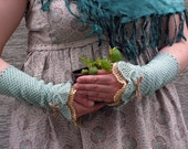 Minty Chitchat - crocheted open work lacy wrist warmers cuffs