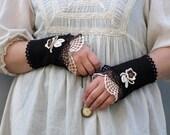 Coffee Time - crocheted open work lacy wrist warmers cuffs