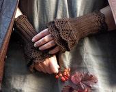 FREE SHIPPING Chocolate Day - crocheted layered wrist warmers cuffs