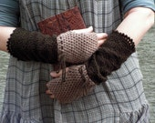Warm Beige Afternoon - crocheted open work lacy two colors mittens fingerless gloves