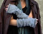 FREE SHIPPING Just Gray - hand knitted gray with string mittens fingerless gloves
