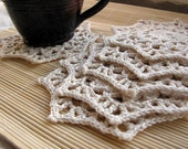 Handmade Crochet 100% Cotton Coasters Set of 6 doily rustic natural - color off white