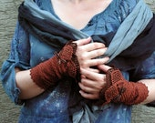 FREE SHIPPING Bittersweet Chocolate - crocheted open work lacy wrist warmers cuffs