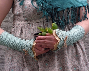 Minty Chitchat - crocheted open work lacy romantic wrist warmers cuffs gift summer autumn fashion