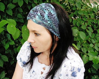 Indian Summer in shades of blue - hand crochet open work lacy headband gipsy boho ties in the back