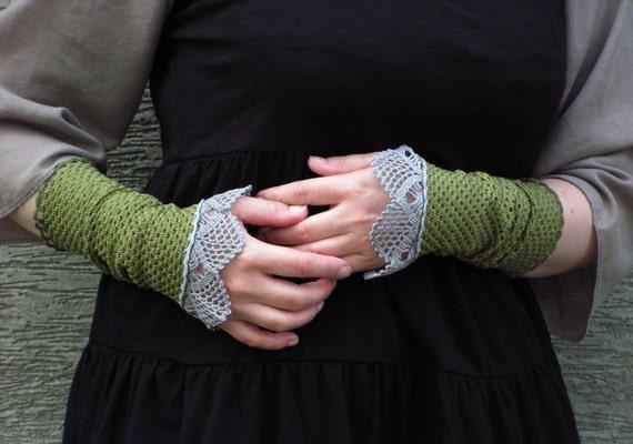 Misty Dream -  crocheted open work lacy wrist warmers cuffs