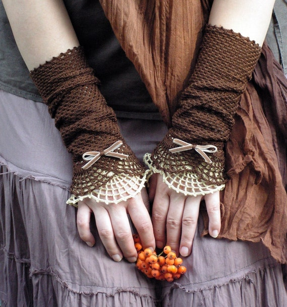 Miss Eyre - crocheted open work lacy romantic fall fasion  wrist warmers cuffs in brown and beige