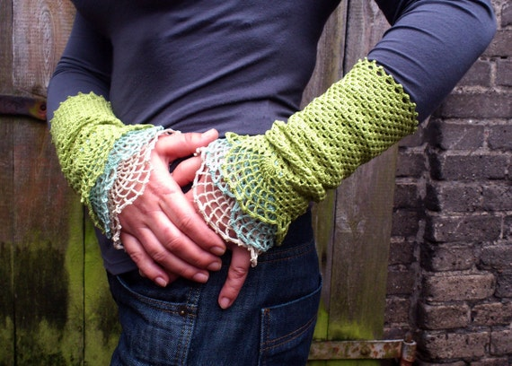 Leaf, water and cloud - crocheted open work lacy wrist warmers cuffs