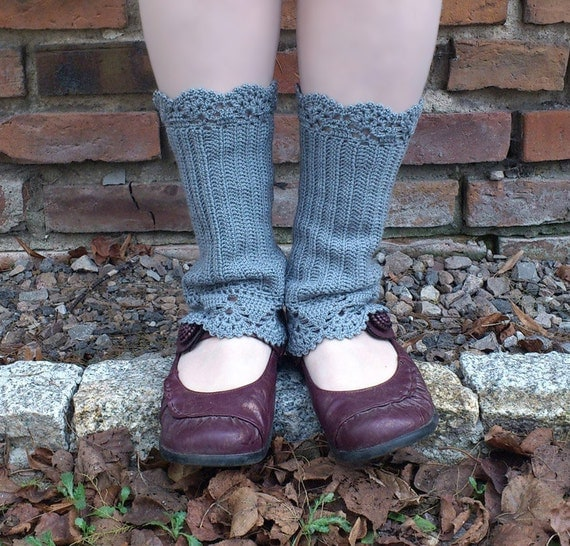 Walk in the Mist - crocheted open work lacy leg warmers spats cuffs with strings