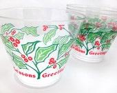 Seasons Greetings. Vintage Holiday Holly Tumblers - Set of 20