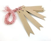 Blank Kraft Gift Tags - Pennant Flag Set of 14