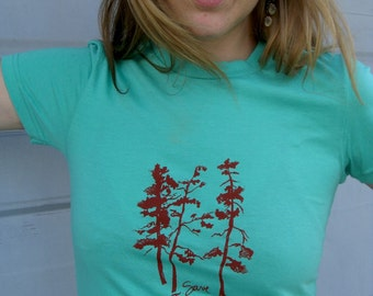 Pine tree print mint green tshirt - Medium
