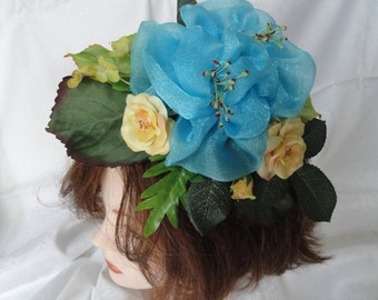 Bridal flower corsage, head flowers fascinator, hand made, blue organza rose and silk English roses, corsage, wrist corsage, hat or hair pin