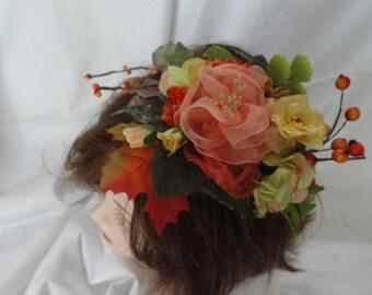 Bridal flowers, fascinator, hand made organza peach-pink  ribbon brooch or pin on, silk flowers, hair embellishement