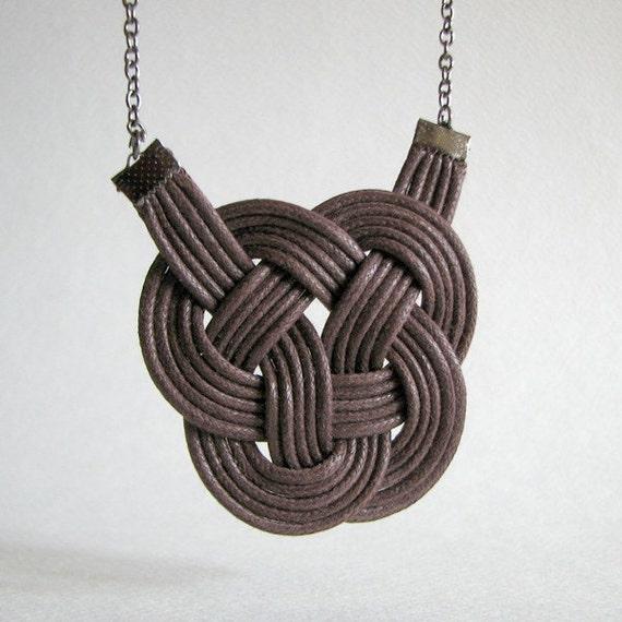Mocha Leather Knot - Noeud de cuir moka
